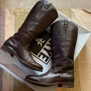 Frye Malissa Button Leather tall brown boots